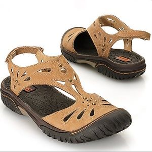 Jambu Womens 8.5 Sandals Leather Studded Laser Cut